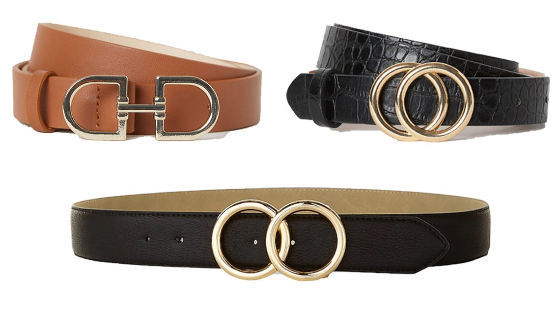 item 8, Gallery image. H&M Narrow Belt in brown (top left); H&M Narrow Belt in black/crocodile-patterned (top right); Express Double O-Ring Belt (bottom)