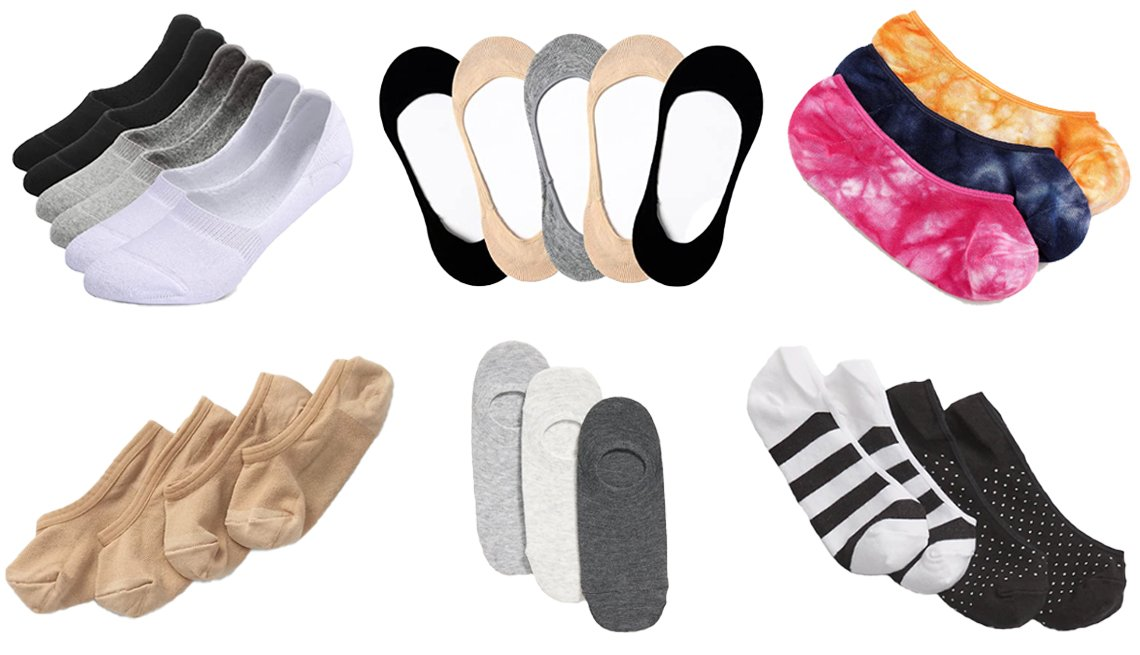 item 9, Gallery image. (From top left clockwise) Leotruny Thick Cushion Athletic Cotton Non Slip Low Cut Flat Liner No Show Socks; Toes Home Ultra Low Cut Liner Socks; J.Crew no-show socks in tie-dye; Gap No-Show Socks; Old Navy No-Show Sneaker Socks for Women; Gap Nylon No-Show Socks in light nude