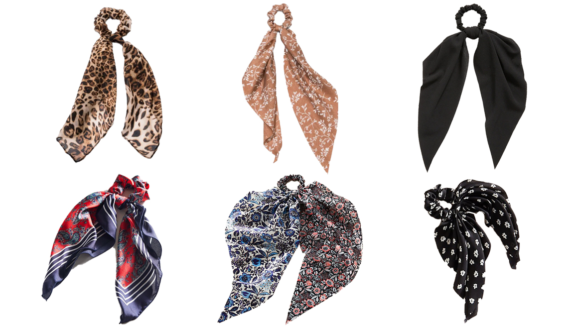 item 10 of Gallery image - Wild Fable Leopard Print Chiffon Fabric Twister with Tail Universal Thread Chiffon Fabric Twister with Floral Print and Tails Hair Elastics Old Navy Scarf Hair Tie For Women Urban Outfitters Lana Silk Scarf Scrunchie Anthropologie Nadia Hair Scarf