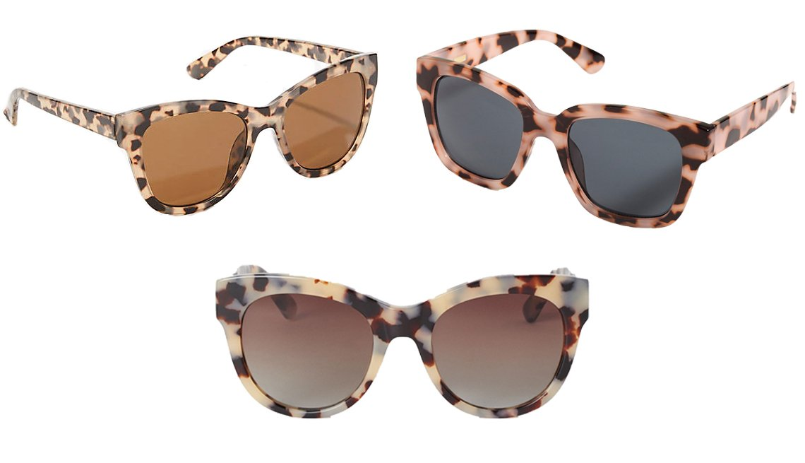 item 2, Gallery image. LOFT Cateye Sunglasses (top left); J.Crew D-frame sunglasses (top right); H&M Polarized Sunglasses (bottom)