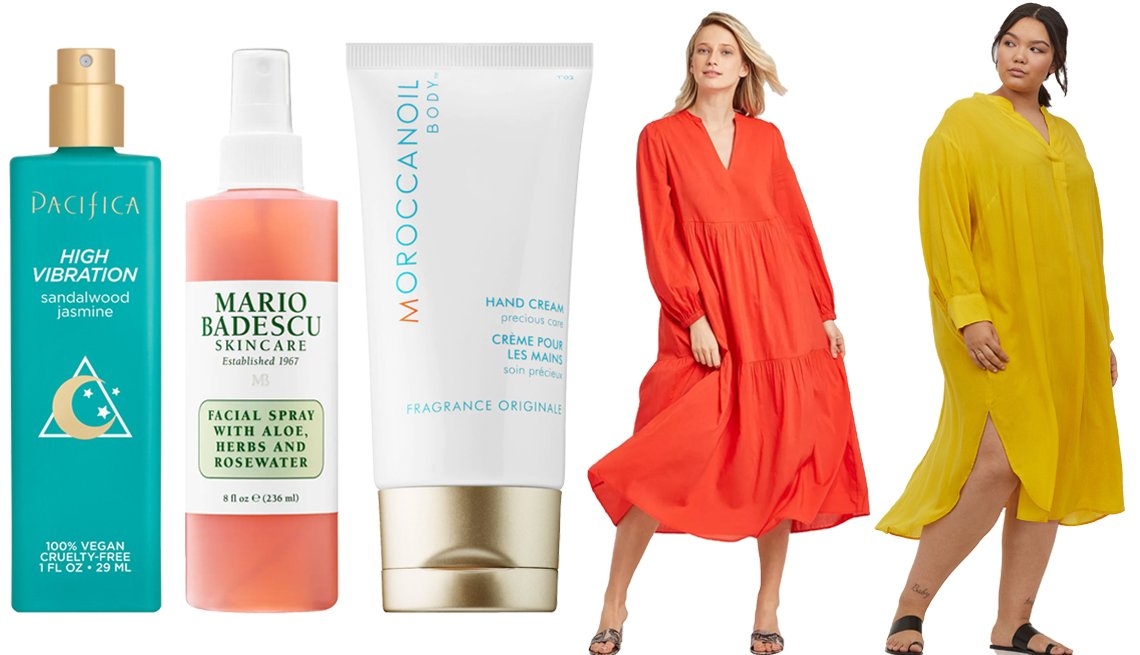 item 8, Gallery image. (Left to right) Pacifica High Vibration Natural Perfume; Mario Badescu Facial Spray With Aloe, Herbs and Rosewater; Moroccanoil Hand Cream; Who What Wear Women's Long Sleeve Tiered Flowy Dress; H&M+ Lyocell-blend Dress