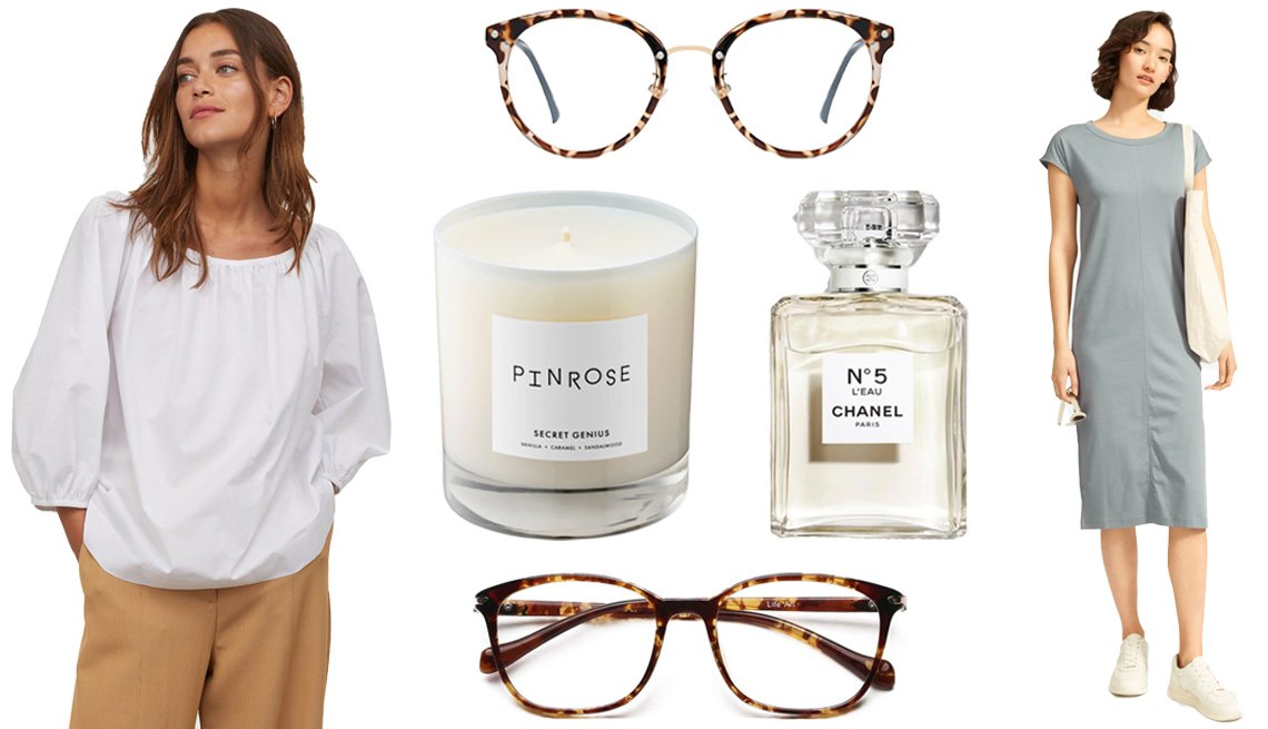 item 7, Gallery image. H&M Cotton Puff-sleeved Blouse (left); Sojos Retro Round Blue Light Blocking Glasses (top); LifeArt Blue Light Blocking Glasses (bottom); Pinrose Secret Genius Candle (middle left); Chanel No. 5 L'Eau (middle right); Everlane The Luxe Cotton Side-Slit Tee Dress (right)