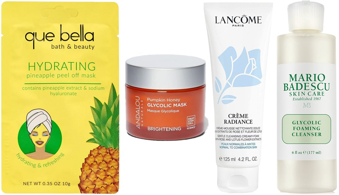 item 3 of Gallery image - (De izquierda a derecha) Que Bella Hydrating Pineapple Peel Off Face Mask; Andalou Naturals Pumpkin Honey Glycolic Mask; Lancôme Crème Radiance Clarifying Cream-to-Foam Cleanser; Mario Badescu Glycolic Foaming Cleanser