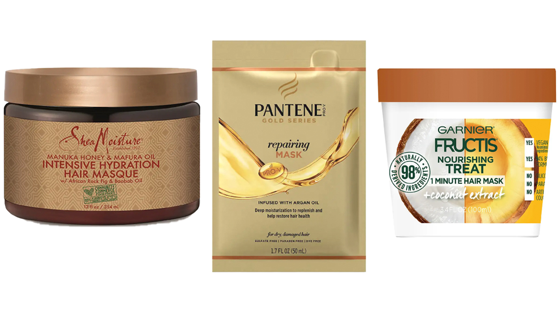 item 3 of Gallery image - (De izq. a der.) SheaMoisture Manuka Honey Masque; Pantene Gold Series Repairing Mask Treatment; Garnier Fructis Nourishing Treat 1 Minute Hair Mask with Coconut Extract
