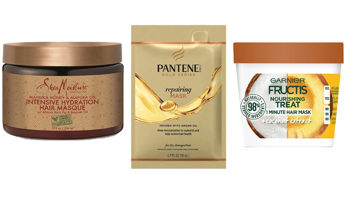 item 3, Gallery image. (De izq. a der.) SheaMoisture Manuka Honey Masque; Pantene Gold Series Repairing Mask Treatment; Garnier Fructis Nourishing Treat 1 Minute Hair Mask with Coconut Extract