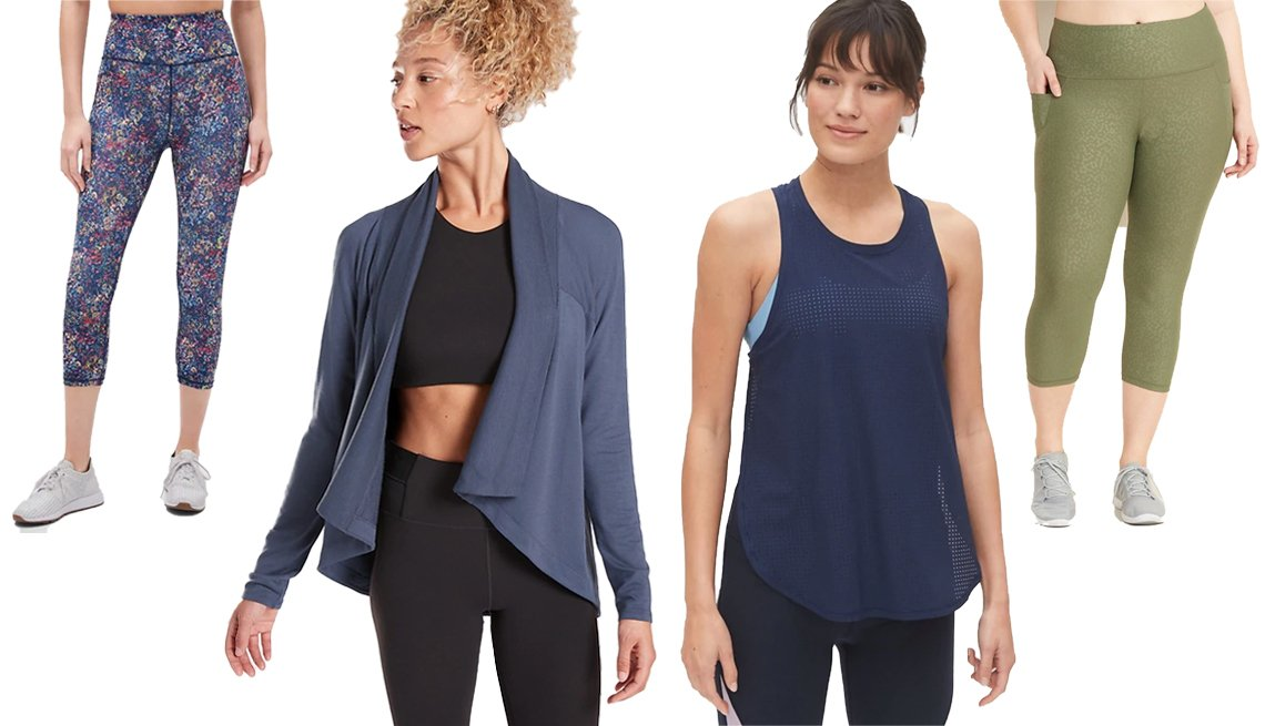 item 9, Gallery image. (Left to right) GapFit High Rise Print Capris in Eclipse; Athleta Nirvana Wear Two Ways Wrap; GapFit Mesh Performance Tank; Old Navy High-Waisted Elevate Powersoft Cropped Plus-Size Leggings