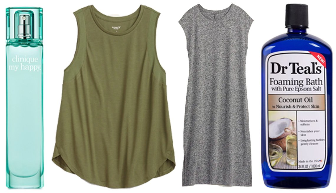 item 10, Gallery image. (Left to right) Clinique My Blue Sky Neroli Happy Perfume Spray; Old Navy Lightweight Mesh-Trim Plus-Size Tank Top; Old Navy Linen-Blend Jersey Midi T-Shirt Shift Dress for Women; Dr Teal's Coconut Oil Foaming Bath