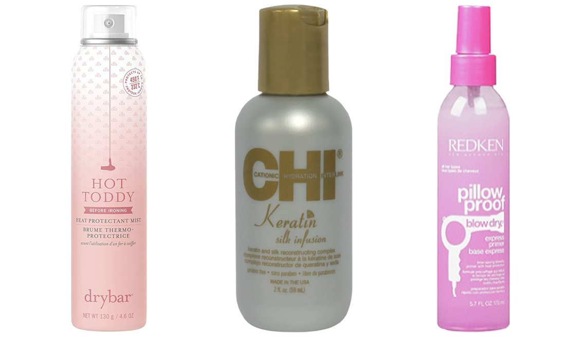 item 11, Gallery image. (Left to right) Drybar Hot Toddy Heat Protectant Mist; CHI Keratin Silk Infusion Reconstructing Complex; Redken Pillow Proof Blow Dry Express Primer Spray