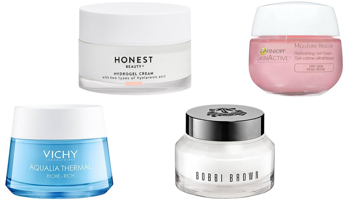 item 7, Gallery image. (Left to right) Vichy Aqualia Thermal Rich Rehydrating Cream; Honest Beauty Hydrogel Cream; Bobbi Brown Hydrating Face Cream Moisturizer; Garnier SkinActive Moisture Rescue Refreshing Gel Cream For Dry Skin
