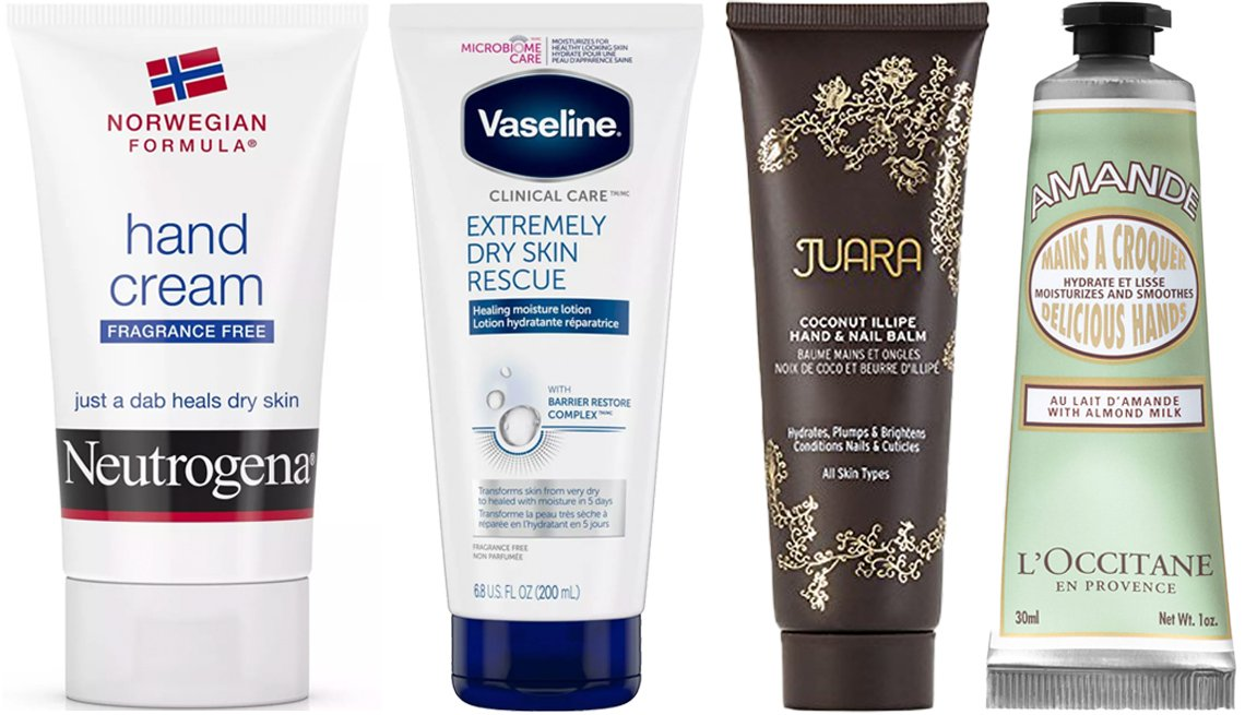 item 8, Gallery image. (Left to right) Neutrogena Norwegian Formula Hand Cream; Vaseline Clinical Care Extremely Dry Skin Rescue Hand and Body Lotion Tube; Juara Coconut Illipe Hand and Nail Balm; L'Occitane Hand Creams