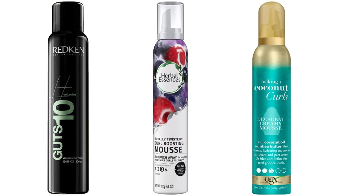item 5, Gallery image. (De izq. a der.) Redken Guts 10 Volumizing Spray Mousse; Herbal Essences Totally Twisted Curl-Boosting Mousse with Berry Essences; OGX Locking + Coconut Curls Decadent Creamy Mousse