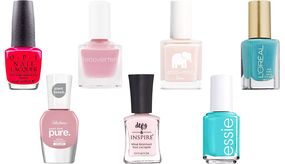 item 10, Gallery image. (Left to right) OPI NailCare Polish in Dutch Tulips; Sally Hansen Good.Kind.Pure Nail Polish; tenoverten Nail Polish; Defy & Inspire Nail Polish; ella+mila Nail Polish Love Collection in Barely Pink; essie Nail Color In The Cab-ana; L'Oréal Paris Colour Riche Nail in Not A Cloud In Sight