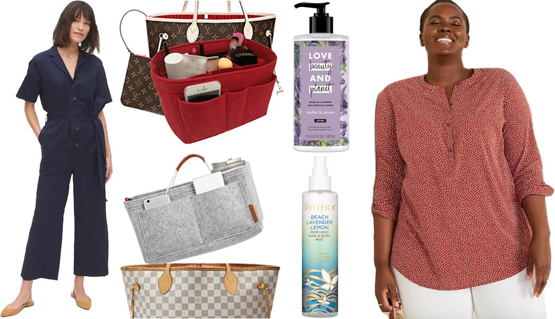 item 3, Gallery image. (Clockwise from left) Gap Utility Jumpsuit in Linen-Cotton; Lexsion Felt Purse Organizer Insert; Love Beauty & Planet Argan Oil and Lavender Hand and Body Lotion; Old Navy No-Peek Button-Front Plus-Size Popover Stretch Tunic; Pacifica Beach Lavender Lemon Perfumed Hair & Body Mist; Foregoer Felt Handbag Insert Organizer