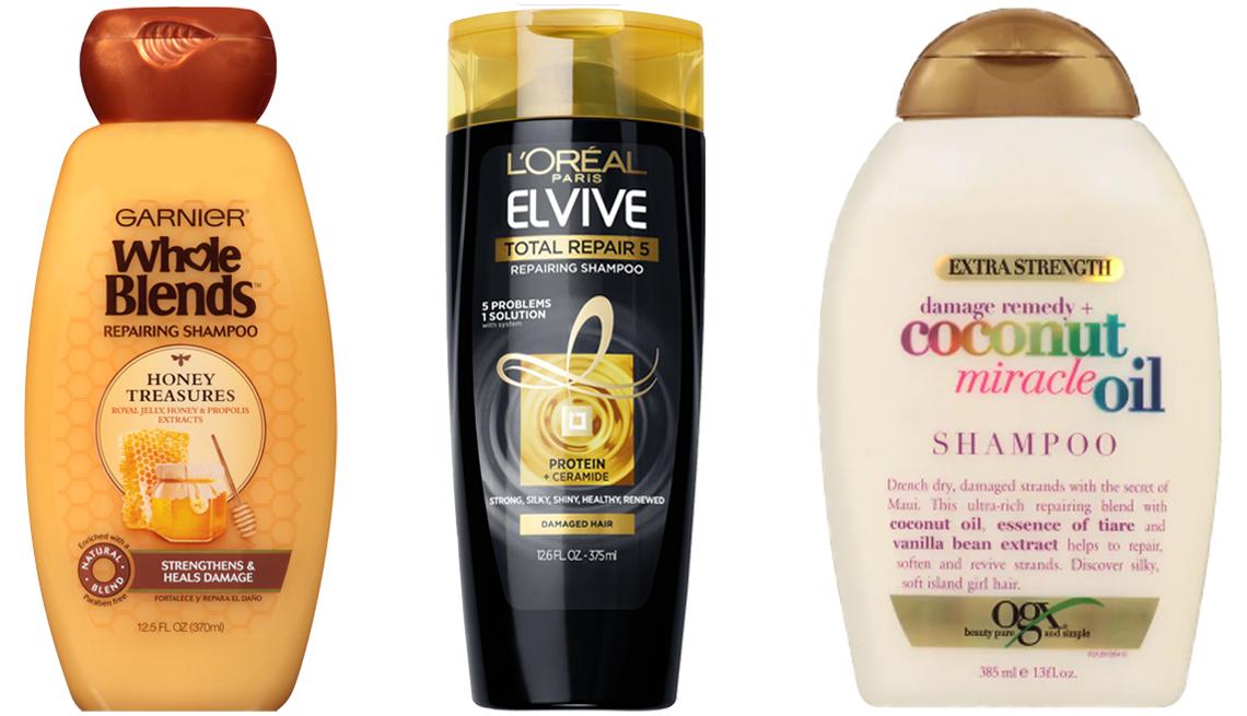 item 1 of Gallery image - (De izq. a der.) Garnier Whole Blends Honey Treasures Repairing Shampoo; L'Oreal Paris Elvive Total Repair 5 Repairing Shampoo; OGX Extra Strength Damage Remedy + Coconut Miracle Oil Shampoo