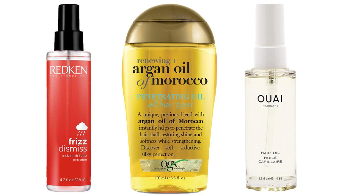 item 8, Gallery image. (Left to right) Redken Frizz Dismiss Instant Deflate Oil in Serum; OGX Moroccan Penetrating Oil Regular; OUAI Hair Oil