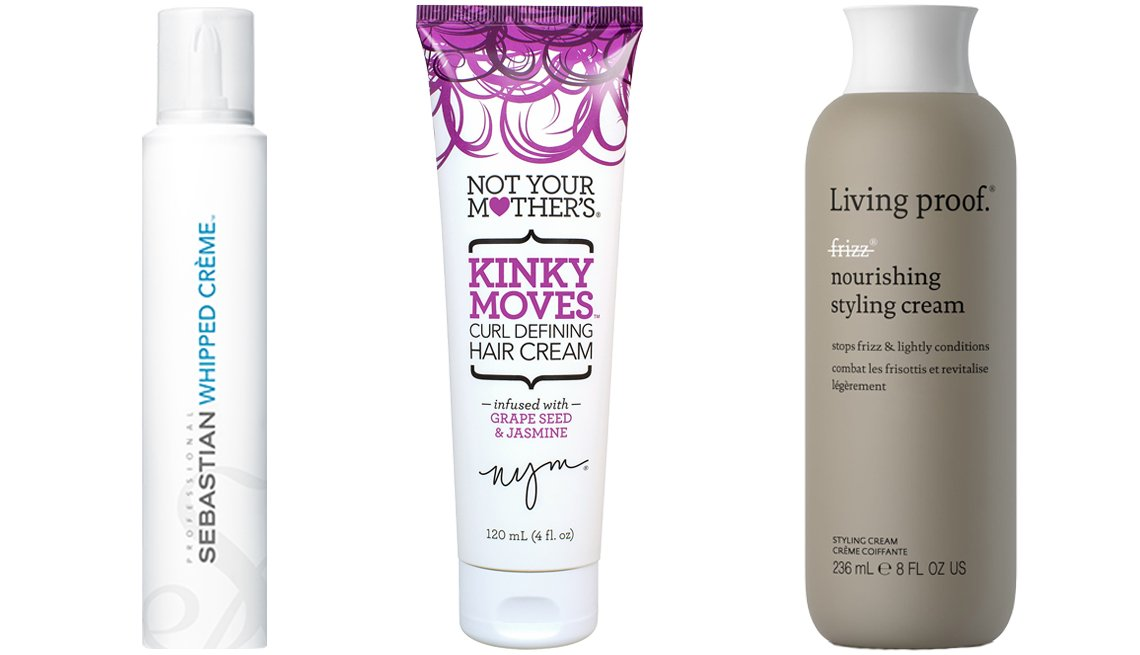item 7, Gallery image. (Left to right) Sebastian Whipped Creme; Not Your Mother's Kinky Moves Curl Defining Hair Cream; Living Proof No Frizz Nourishing Styling Cream