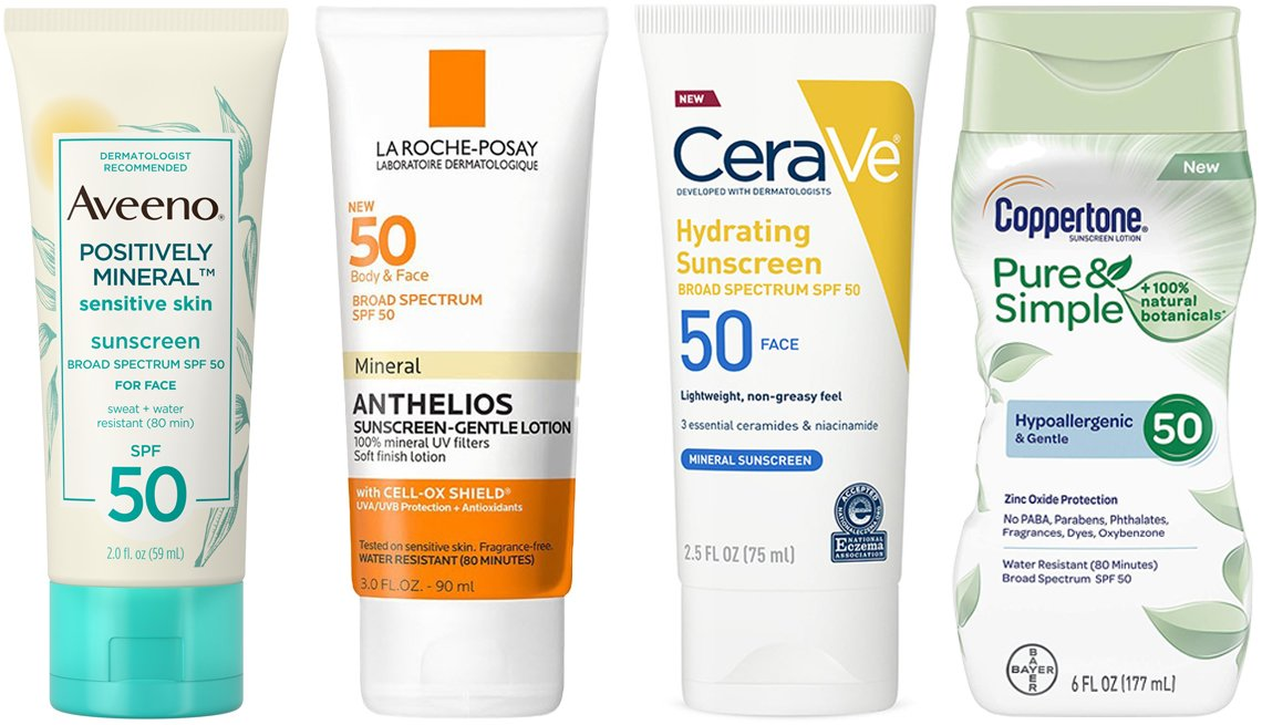 item 9, Gallery image. (Left to right) Aveeno Positively Mineral Sensitive Face Sunscreen SPF 50; La Roche-Posay Anthelios Body and Face Mineral Sunscreen Lotion SPF 50; CeraVe Mineral Sunscreen Lotion for Face with Zinc Oxide SPF 50; Coppertone Pure & Simple Sunscreen Lotion for Face SPF 50