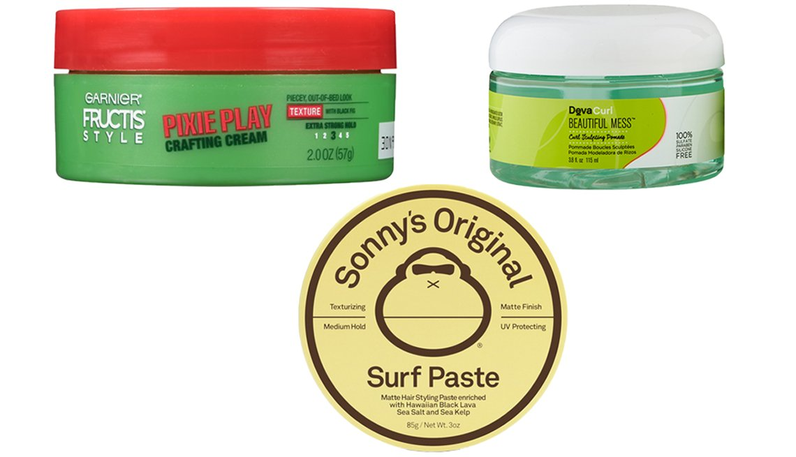 item 6, Gallery image. (From top left clockwise) Garnier Fructis Deconstructed Pixie Play Crafting Cream; DevaCurl Beautiful Mess Curl Sculpting Pomade; Sun Bum Sonny's Original Surf Paste