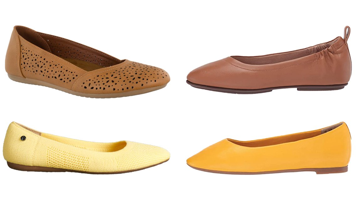 item 3, Gallery image. (Clockwise from top left) Easy Street Brooklyn Women's Ballerina Flats in Luggage; FitFlop Allegro in Hazelnut; Hush Puppies Kendal Ballet Flat in Golden Rod; Simply Vera Vera Wang Berner Women's Flex Round Toe Ballet Flats in Yellow