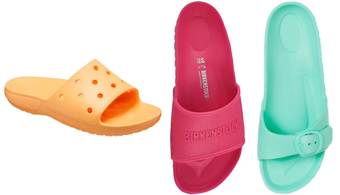 item 9, Gallery image. (Left to right) Crocs Classic II Adult Slide Sandals in Cantaloupe; Birkenstock Barbados Essentials in Beetroot Purple; H&M Slides in Mint Green