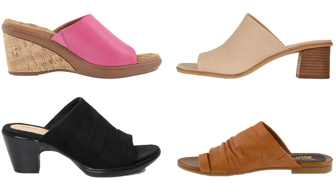 item 4, Gallery image. (Clockwise from top left) Walking Cradles Lynn in Fuchsia Moroccan; Lucky Brand Lutena in Moonlight; Spring Step Women's Slide Sandals Ishtar in Camel; Croft & Barrow Instrument Women's Slide Sandals in Black