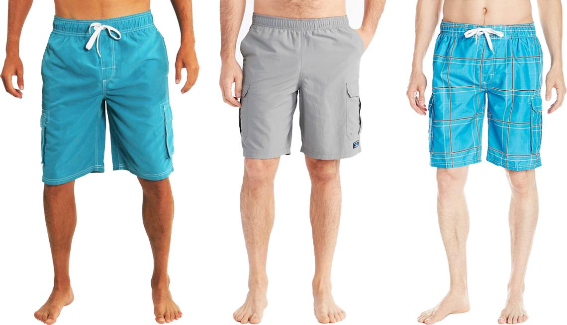 item 7 of Gallery image - (De izquierda a derecha) Traje de baño para hombres, tipo pantalón corto cargo, de Northy, de color aqua 2; pantalones cortos deportivos clásicos para hombres tipo cargo, de L.L. Bean, de 10 pulgadas; traje de baño echelon para hombres, de Kanu Surf, de color flex aqua.