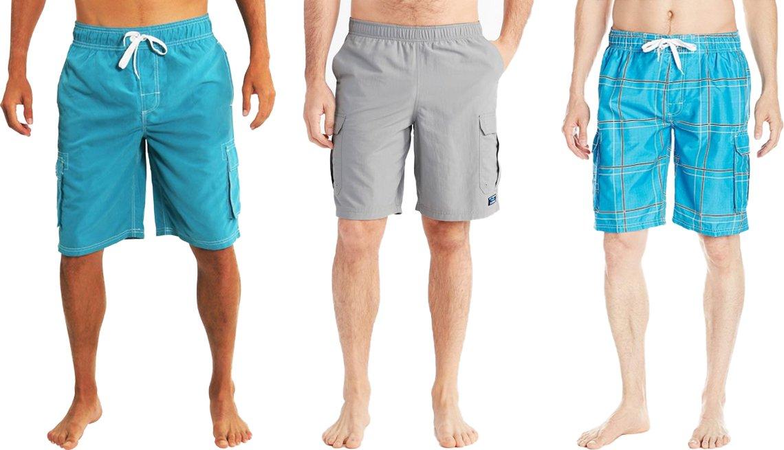 item 7, Gallery image. (De izquierda a derecha) Traje de baño para hombres, tipo pantalón corto cargo, de Northy, de color aqua 2; pantalones cortos deportivos clásicos para hombres tipo cargo, de L.L. Bean, de 10 pulgadas; traje de baño echelon para hombres, de Kanu Surf, de color flex aqua.
