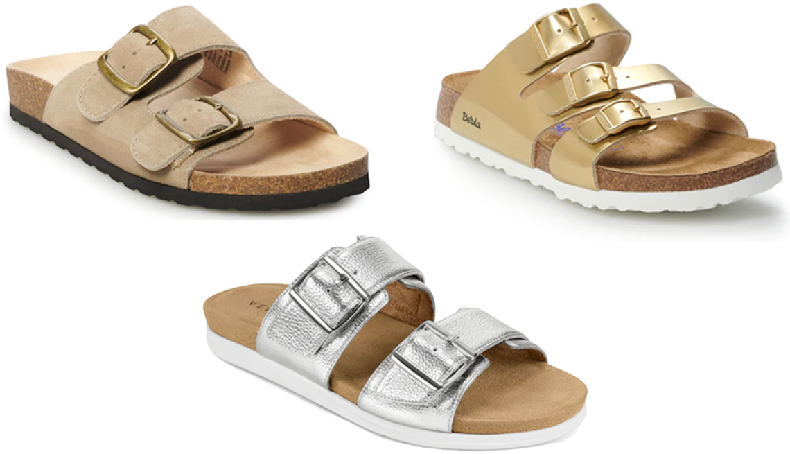 item 1 of Gallery image - Sonoma Goods for Life Artwork Womens Sandals in Taupe Betula Licensed by Birkenstock Leo Womens Footbed Sandals in Gold Aerosoles Hamden in Silver Metallic
