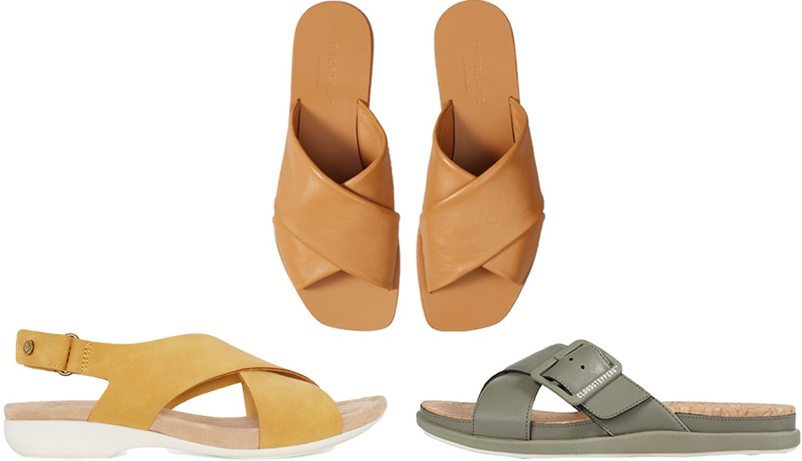 item 7, Gallery image. (Clockwise from left) St. John's Bay Women's Zuma Adjustable Strap Flat Sandals in Yellow; Everlane The Day Crossover Sandal in Caramel; Clarks Step June Shell in Dusty Olive