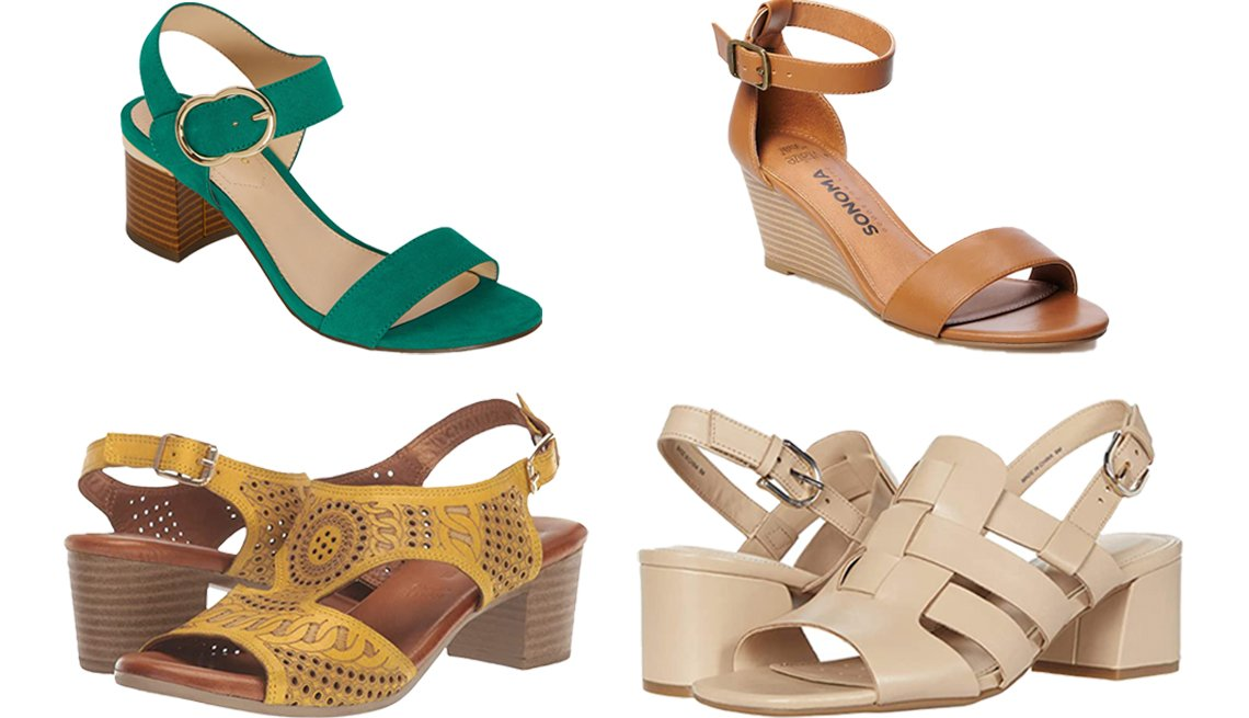 item 10, Gallery image. (Clockwise from top left) Liz Claiborne Women's Lovey Heeled Sandals in Green; Sonoma Goods for Life Malinois Women's Wedge Sandals in Cognac; Easy Spirit Evolve Mona in Natural; Spring Step Chains in Yellow