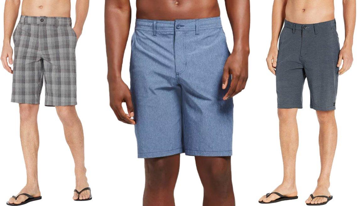 item 8, Gallery image. (De izquierda a derecha) Pantalones cortos híbridos para hombres, con tejido elástico, de O'Neill, de 21 pulgadas, de color asfalto; pantalones cortos híbridos para hombres, en talla grande y alto, de Goodfellow & Co., de 10.5 pulgadas, en azul; pantalones cortos híbridos clásicos para hombres, de Billabong, en azul marino.