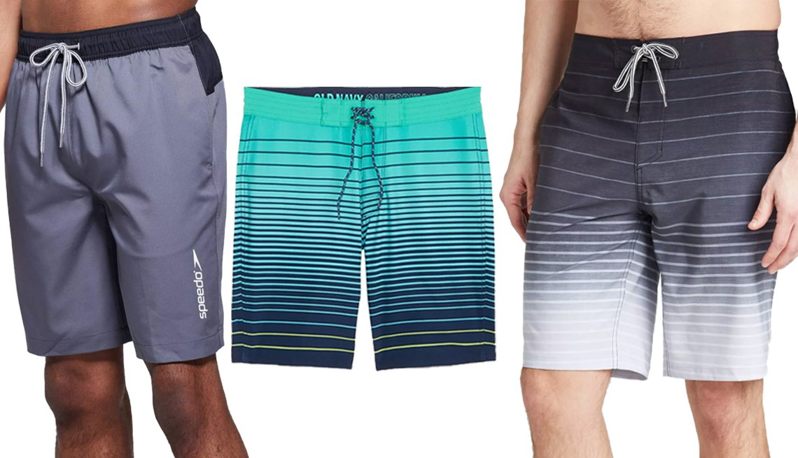 item 6, Gallery image. (Left to right) Speedo Men's 9-Inch Marina Long Volley Swim Trunks in Gray; Old Navy Patterned Built-In Flex Board Shorts for Men 10-Inch in Teal Stripe; Goodfellow & Co. Men's 10-Inch Afterburner Swim Board Shorts in Black