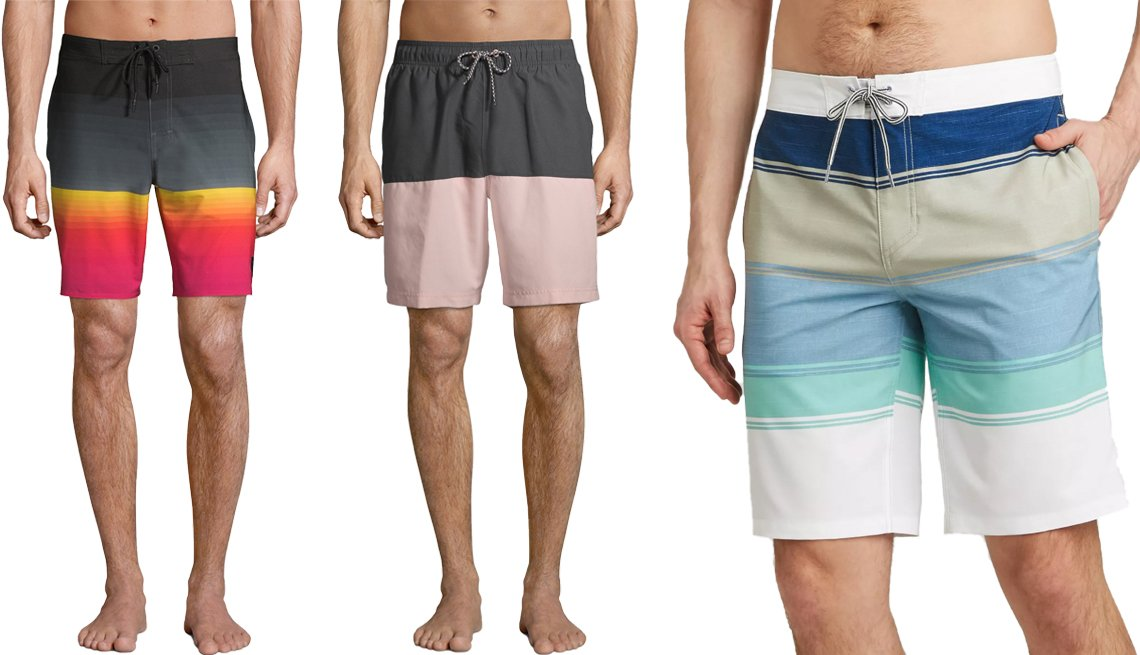 item 9, Gallery image. (Left to right) No Boundaries Men's and Big Men's 9-Inch Ombré Fixed Waist Swim Shorts in Rich Black Fire; George Men's and Big Men's 8-Inch All-Guy Color Block Swim Shorts in Grey Stone Combo; Goodfellow & Co. Men's 10-Inch Striped Swim Board Trunks in Mint