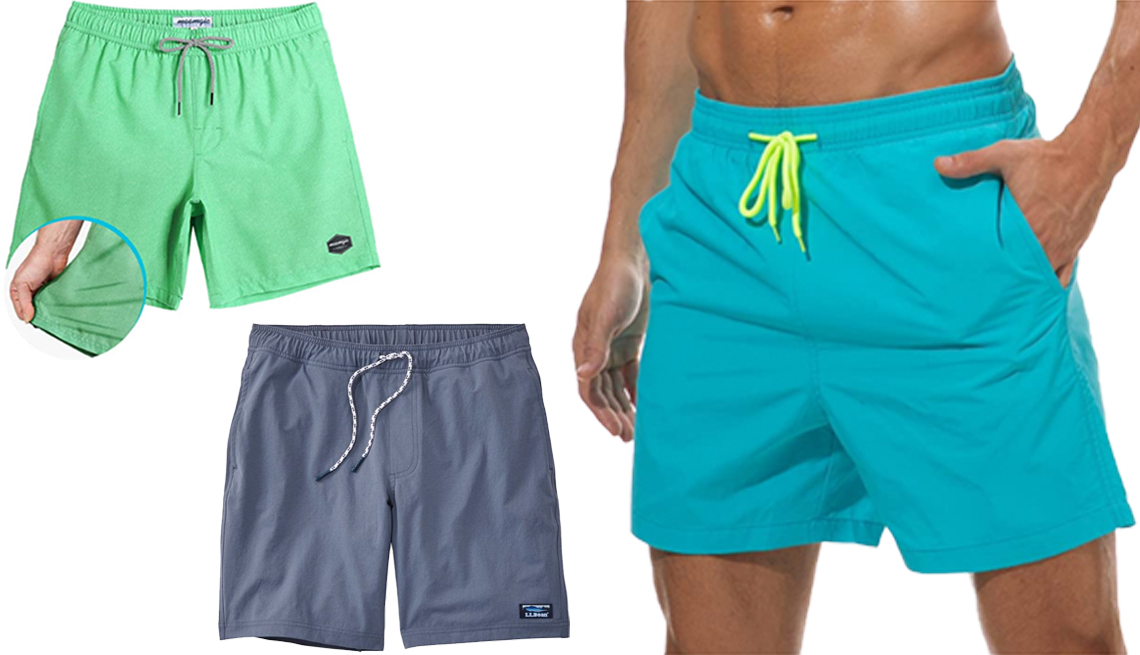 item 3 of Gallery image - MaaMgic Mens Quick Dry 4 Way Stretch Swim Trunks in Mint L L Bean Mens Vacationland Stretch Swim Trunks with U P F 50 in Vintage Indigo Silk world Mens Swim Trucks Quick Dry Beach Shorts in Sky Blue
