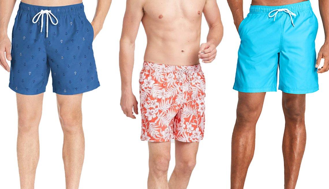 item 5, Gallery image. (De izquierda a derecha) Traje de baño para hombres, de Amazon Essentials, de 7 pulgadas, en diseño de anclas; traje de baño para hombres, con estampado floral, de Goodfellow & Co., de 7 pulgadas, de color rojo; traje de baño tipo volley para hombres, de Lands' End, de 8 pulgadas, en azul celeste.