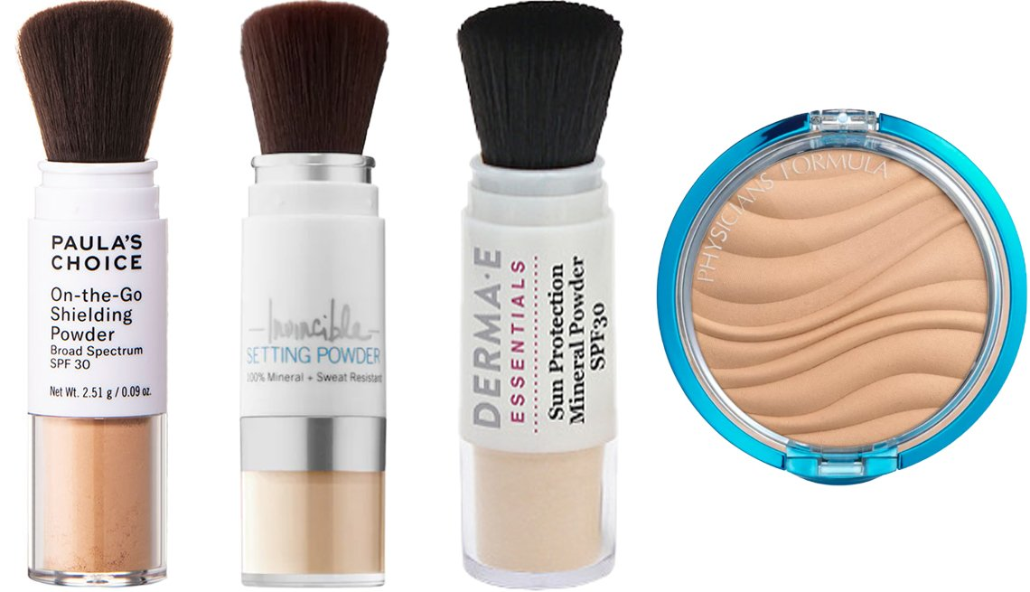 item 7, Gallery image. (Left to right) Paula's Choice On-the-Go Shielding Powder SPF 30; Supergoop! Invincible Setting Powder SPF 45; Derma-E Sun Protection Mineral Powder SPF 30; Physicians Formula Mineral Wear Talc-Free Mineral Airbrushing Pressed Powder SPF 30