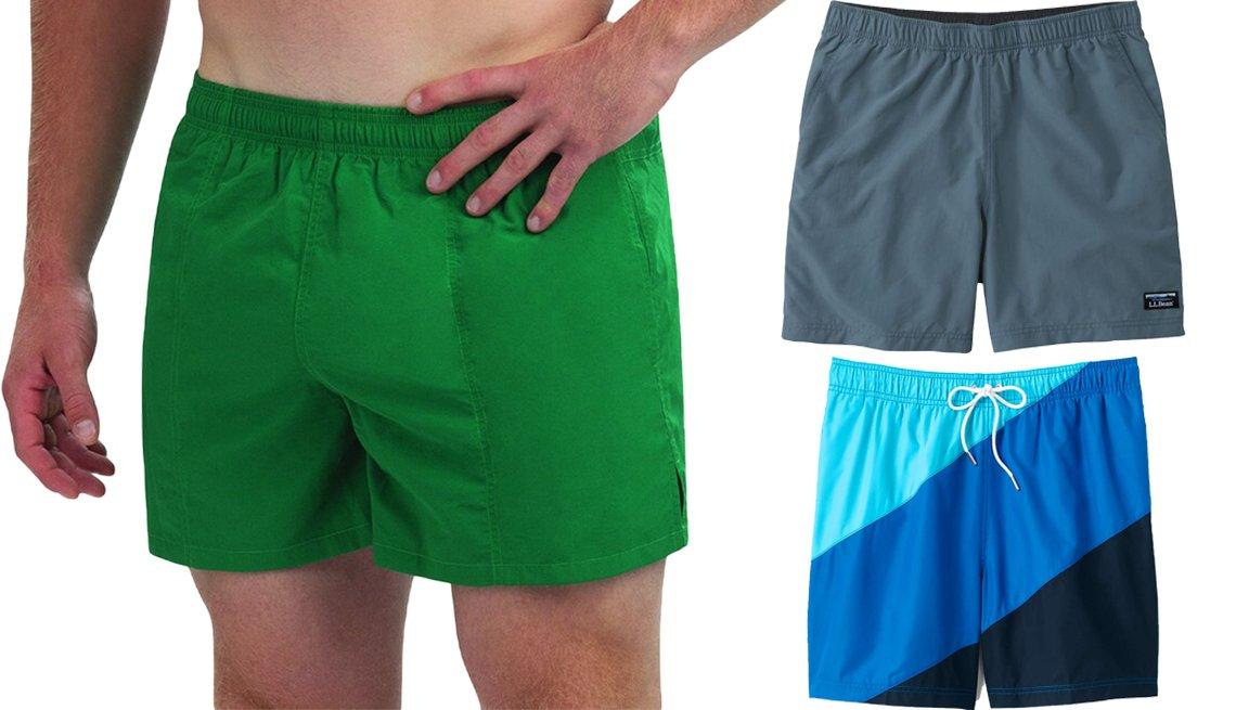 item 4, Gallery image. Traje de baño Dolfin Solid para hombres, de Kohl's, de 5 pulgadas de largo, de color verde (a la izquierda); pantalones cortos deportivos clásicos para hombres, de L.L. Bean, de 6 pulgadas, en azul hierro (arriba a la derecha); traje de baño tipo volley con bloque de colores, de Lands' End, de 6 pulgadas, en triple bloque de color azul (abajo a la derecha).
