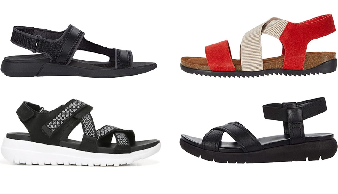 item 8, Gallery image. (Clockwise from top left) Hush Puppies Willa Knit Rafter in Black Knit; David Tate Clear in Red; Naturalizer Lily in Black Leather; Ryka Isora Women's Sandals in Black