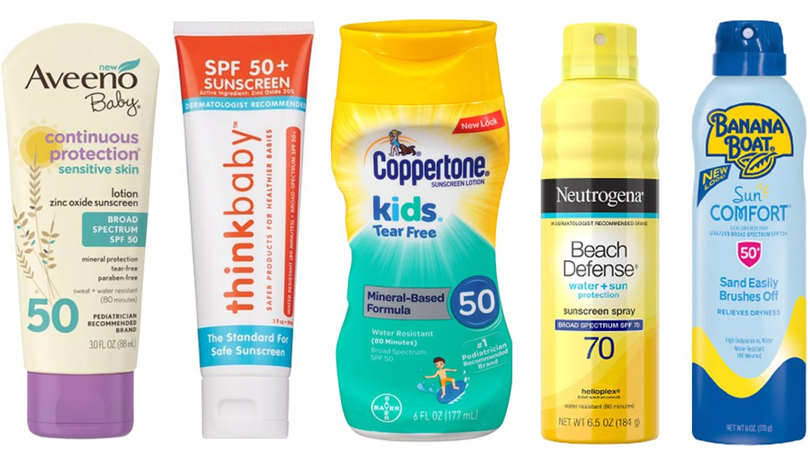 item 6, Gallery image. (Left to right) Aveeno Baby Continuous Protection Zinc Oxide Mineral Sunscreen SPF 50; Thinkbaby SAFE Sunscreen SPF 50+; Coppertone Kids Sunscreen Tear Free Mineral-Based Water Resistant Lotion SPF 50; Neutrogena Beach Defense Oil Free Body Sunscreen Spray SPF 70; Banana Boat Sun Comfort Clear Sunscreen Spray SPF 50