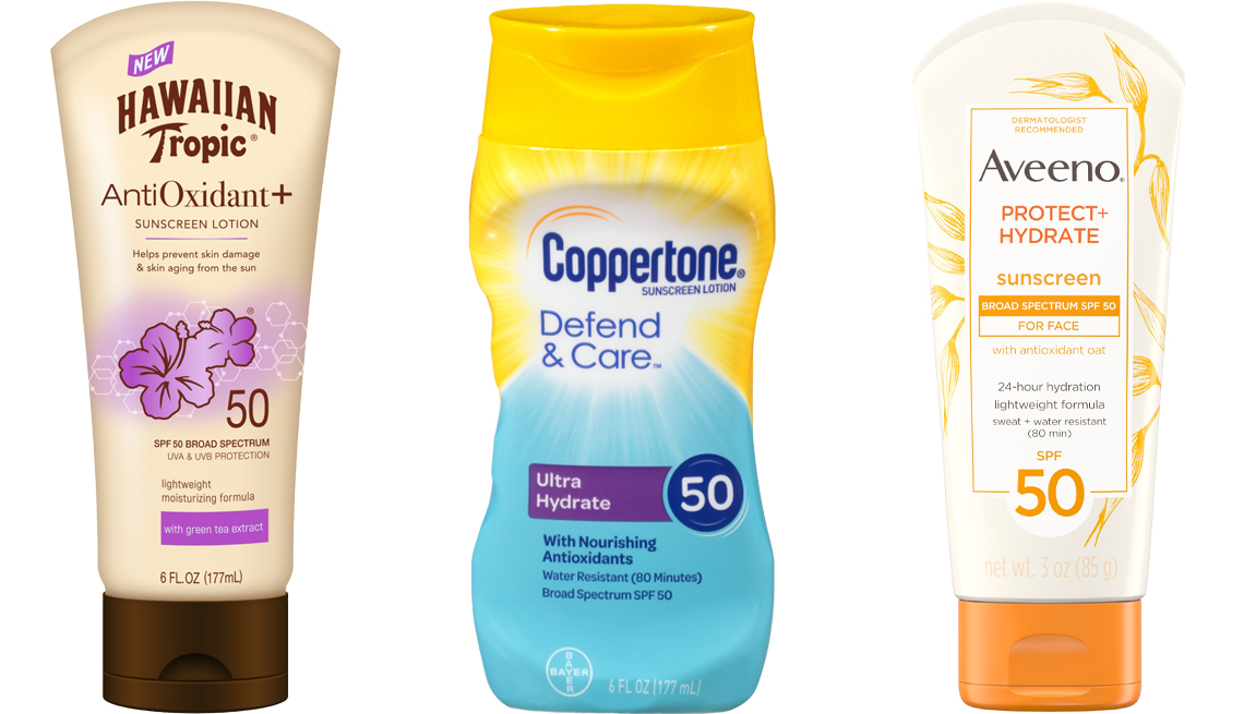item 4 of Gallery image - Hawaiian Tropic Antioxidant plus Sunscreen Lotion S P F 50 Coppertone Defend and Care Ultra Hydrate Sunscreen Lotion Broad Spectrum S P F 50 Aveeno Protect plus Hydrate Lotion Sunscreen with S P F 50 for Face