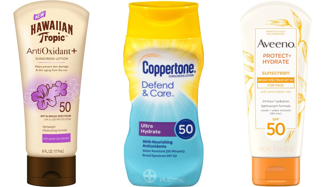 item 4, Gallery image. (Left to right) Hawaiian Tropic Antioxidant + Sunscreen Lotion SPF 50; Coppertone Defend & Care Ultra Hydrate Sunscreen Lotion Broad Spectrum SPF 50; Aveeno Protect + Hydrate Lotion Sunscreen With SPF 50 for Face