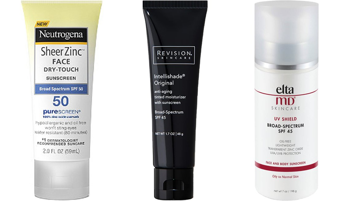 item 3, Gallery image. (Left to right) Neutrogena Sheer Zinc Face Dry-Touch Sunscreen SPF 50; Revision Skincare Intellishade Original SPF 45; EltaMD UV Shield SPF 45