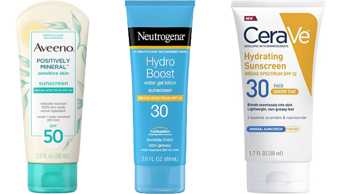 item 1 of Gallery image - Aveeno Positively Mineral Sensitive Skin Sunscreen S P F 50 Neutrogena Hydro Boost Water Gel Lotion Sunscreen S P F 30 CeraVe Face Sheer Tint Hydrating Sunscreen S P F 30