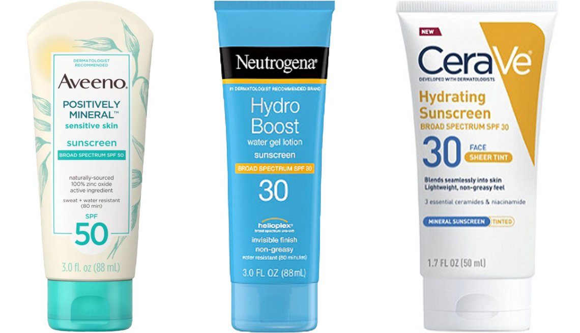 item 1, Gallery image. (Left to right) Aveeno Positively Mineral Sensitive Skin Sunscreen SPF 50; Neutrogena Hydro Boost Water Gel Lotion Sunscreen SPF 30; CeraVe Face Sheer Tint Hydrating Sunscreen SPF 30