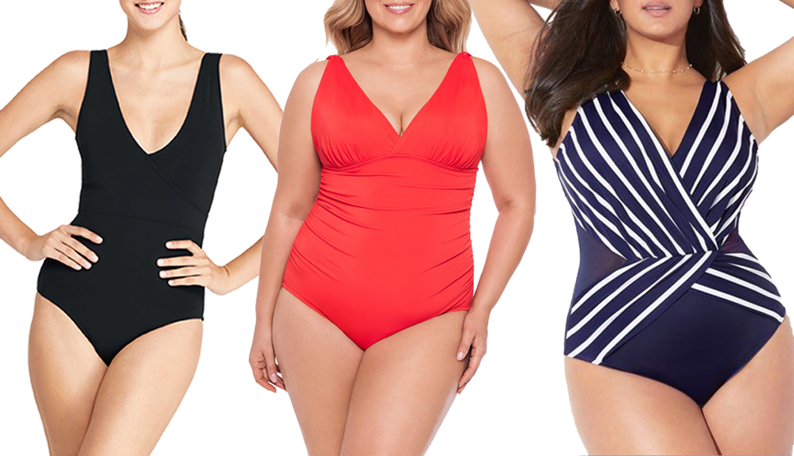 item 2, Gallery image. (Left to right) Lands' End V-Neck One Piece Swimsuit in Black; Time and Tru Women's Plus Size Sizzle Shirred One Piece Swimsuit in Orange Sizzle; Swimsuits for All Navy Striped Plunge Surplice One Piece Swimsuit