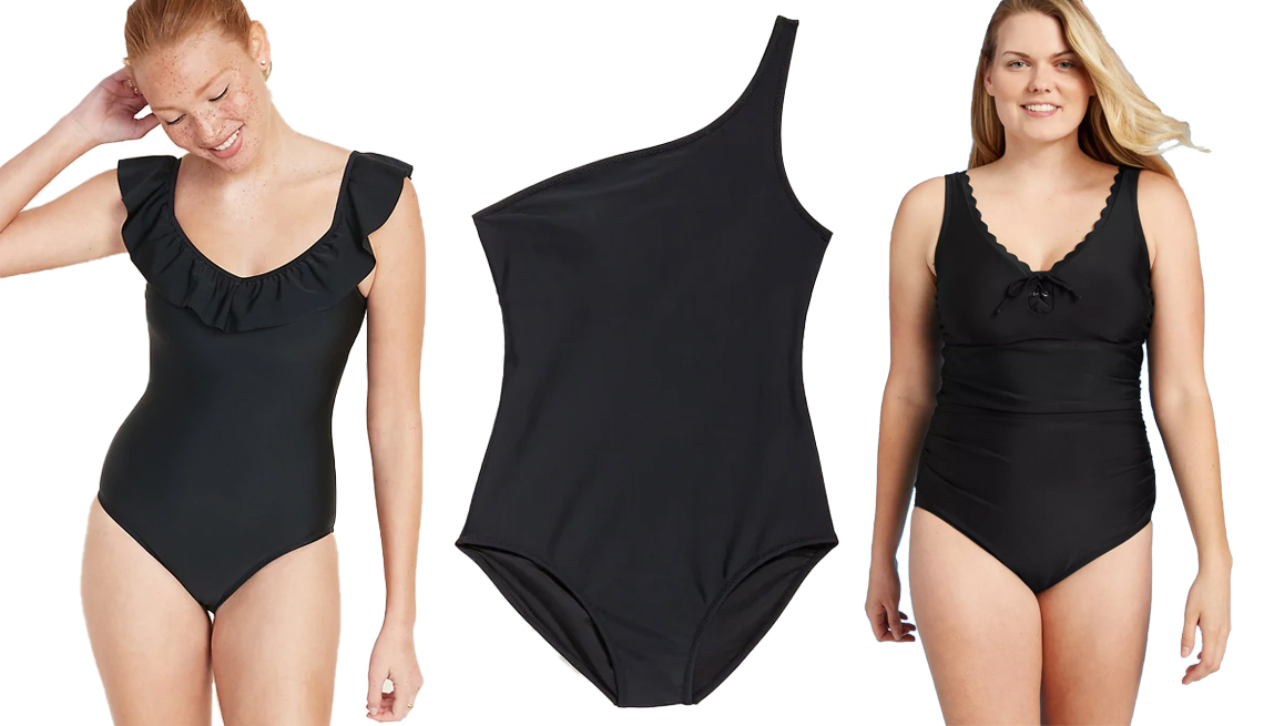 item 11, Gallery image. (Left to right) Old Navy Ruffled Off The Shoulder Swimsuit for Women; Old Navy One-Shoulder One-Piece Swimsuit for Women in Ebony; Kona Sol Lace-Up Scallop One Piece Swimsuit in Black