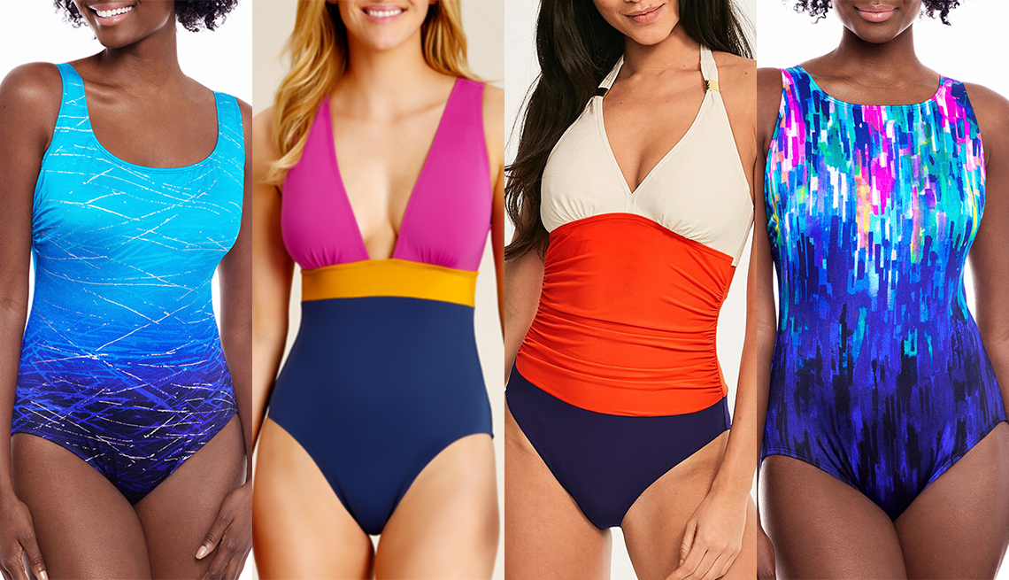 item 8, Gallery image. (Left to right) Robby Len By Longitude Waves One Piece Swimsuit; Catalina Colorblock Plunge One Piece; Figleaves Colorblock Underwire Shaping Halter One Piece Swimsuit; St. John's Bay Confetti One Piece Swimsuit