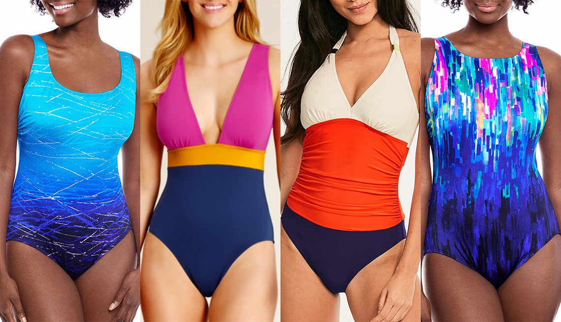 item 8 of Gallery image - Robby Len By Longitude Waves One Piece Swimsuit Catalina Colorblock Plunge One Piece Figleaves Colorblock Underwire Shaping Halter One Piece Swimsuit St Johns Bay Confetti One Piece Swimsuit