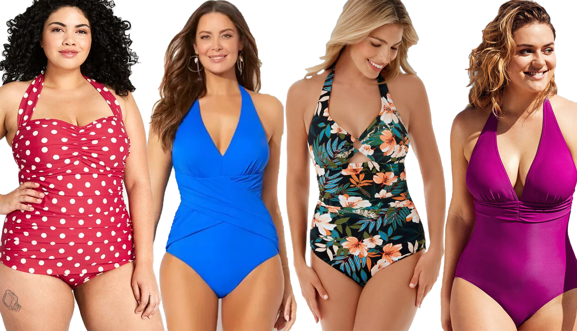 item 6, Gallery image. (Left to right) Modcloth Bathing Beauty One Piece Swimsuit; Swimsuits for All Royal Crossover Halter One Piece Swimsuit; Dreamsuit by Miracle Brands Slimming Control Ring Front Halter One Piece Swimsuit; Figleaves Tuscany Tummy Control One-Piece Swimsuit in Berry