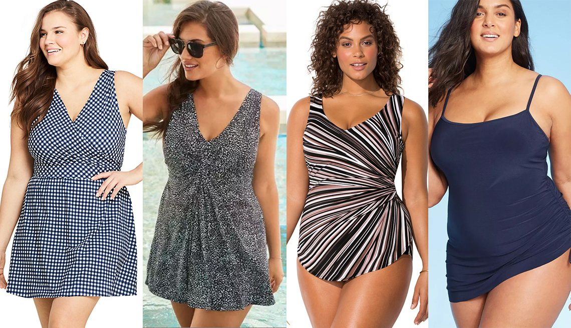 item 5 of Gallery image - Draper James Lands End Womens Plus Size Tummy Control Wrap Swim Dress One Piece Swimsuit Swimsuits for All Leopard Twist Front Swimdress Swimsuits for All Plus Size Sarong Front One Piece in Neutral Starburst Aqua Green Womens Side Tie Swim Dress
